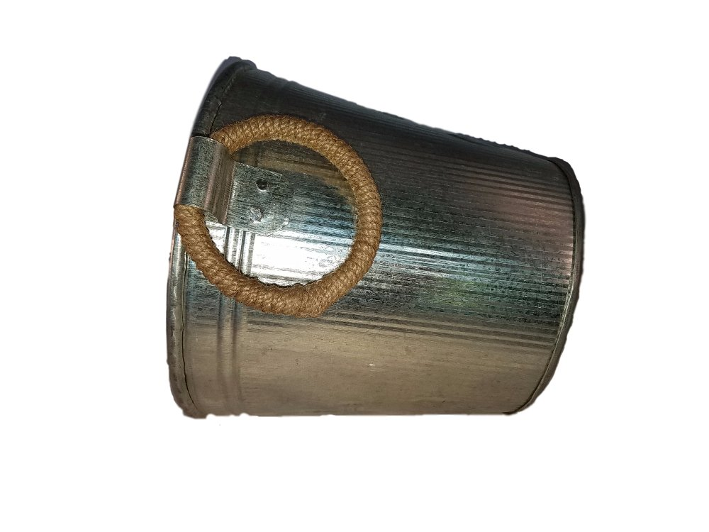 Galvanized Metal Ice Bucket for Drinks or Planter Pail with Rope Handles by KINDWER (Image #4)
