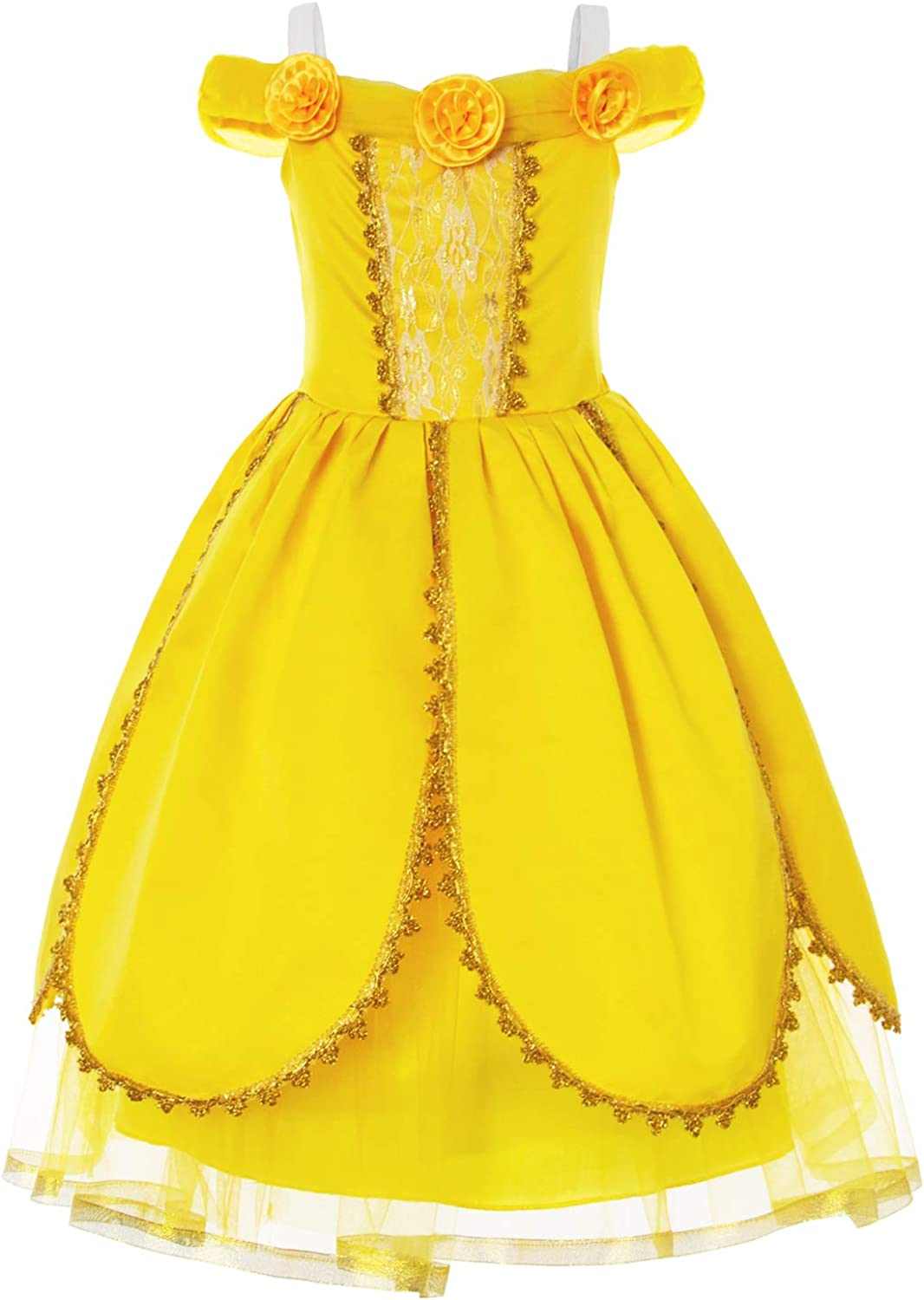 Joy Join Princess Costume Deluxe Fancy Yellow Dress for Toddler Girls Party  Dress Up