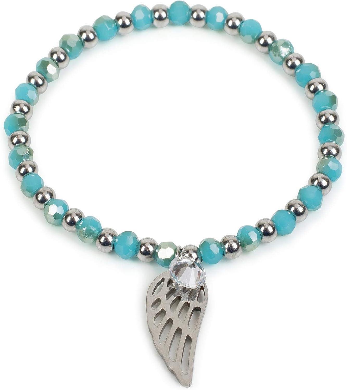 styleBREAKER Pulsera de Perlas de Acero Fino de Mujer con Colgantes «Charm» en Forma de alas y estrás, elástico, Pulsera de Bolas, bisutería 05040156