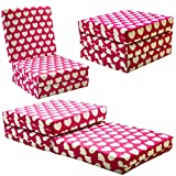 KIDS CHAIR BED - Kids Folding Chairbed Futon Guest Z bed Childrens (Pink Hearts)