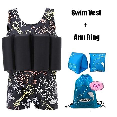 9668ebb72c89a Lemandii One-Piece Children Buoyancy Swimsuit Swim Vest Detachable Float  Swimwear, Perfect for Kids
