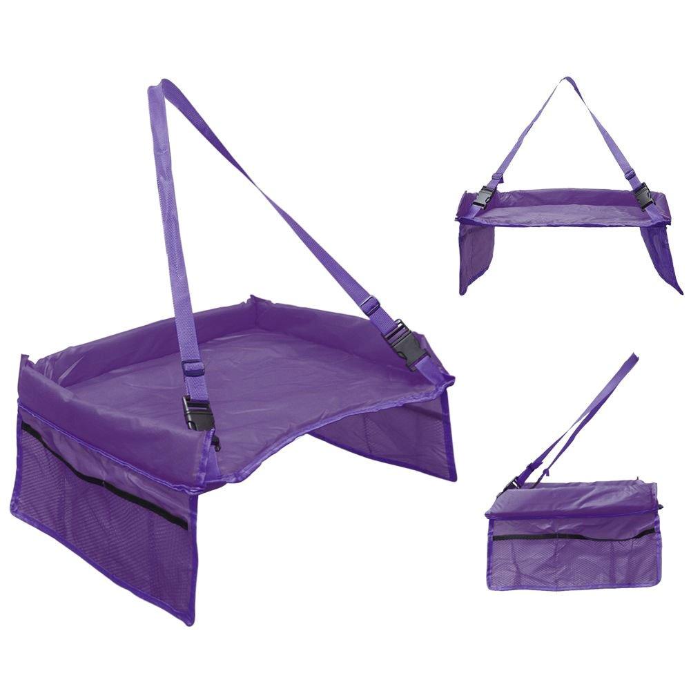 Starcrafter Tavoli giocattoli passeggino Bambini di viaggio Gioca Tray tavolo seggiolino viaggio tavolo per per bambini con tasche in rete tavoli di stoccaggio impermeabili usare a casa e in macchina passeggino porpora