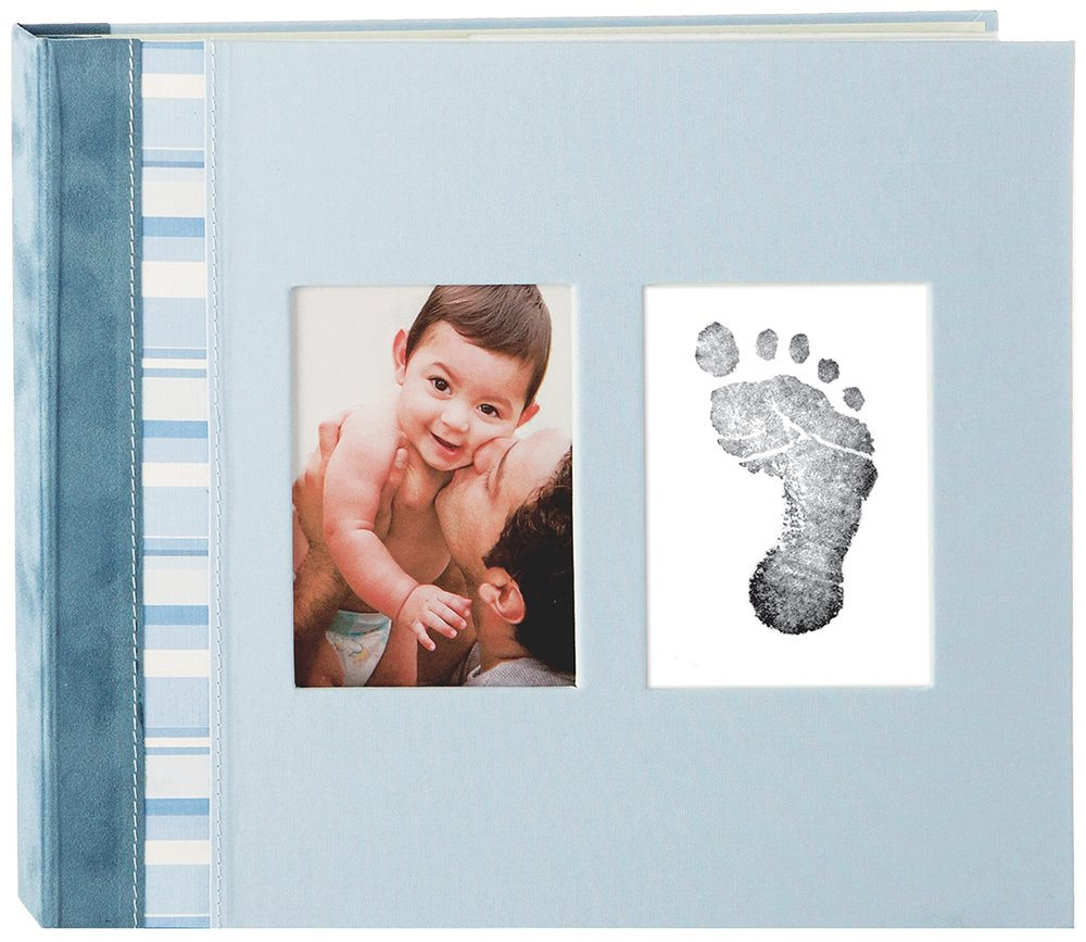 Pearhead Blue Suede Binding Classic Baby Memory Book with Clean-Touch Ink Pad Included, Blue 35010