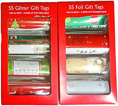 110 Holiday Christmas Gift Tags Adhesive Sticker Labels with Foil