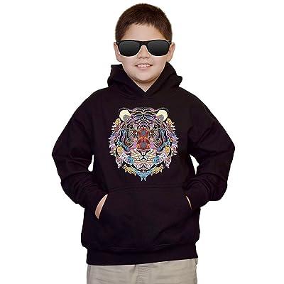 Youth Mosaic Tribal Tiger Black kids Sweatshirt Hoodie