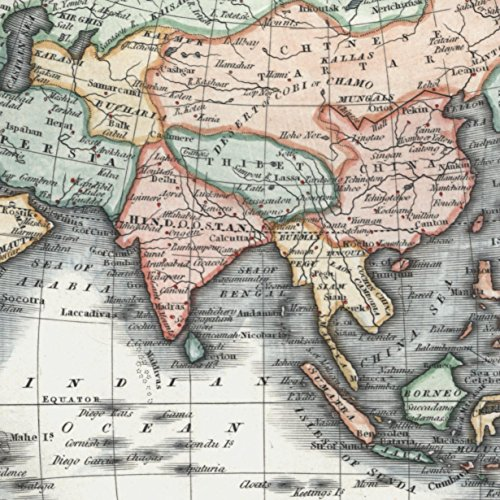 Asia New Holland Australia Philippines India 1844 Walker antique hand color map