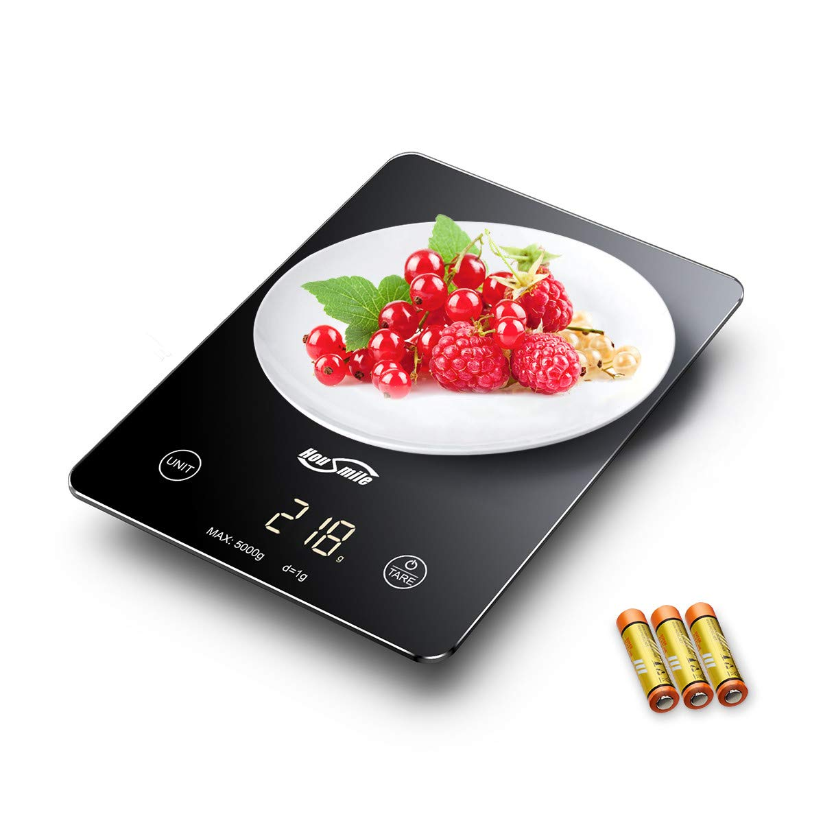 Housmile Balance Numérique de Cuisine, Balance Alimentaire Tactile Sensible Haute Précision Affichage à Écran LED Piles Fournies Poids Maximum de 5kg, Noir