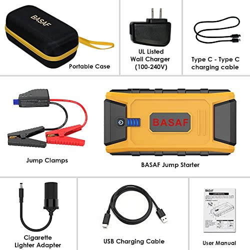 Trustworthy BASAF Car Jump Starter 1200A Peak,12V Portable Battery Pack