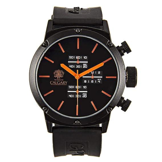 Relojes Calgary GP Racing. Reloj clásico para Hombre con Correa de Goma Negra con Esfera en Color Negra y Naranja: Amazon.es: Relojes