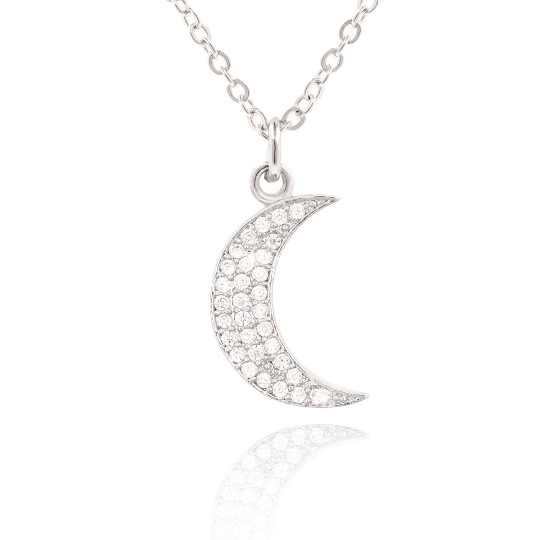 COZLANE Sparkle CZ Diamond Moon/Bee/Tree Swarovski Rhinestone Crystal Cute Pendant Necklace Fine Jewelry Birthday Christmas for Women, Girls, Kids (Moon (Silver))