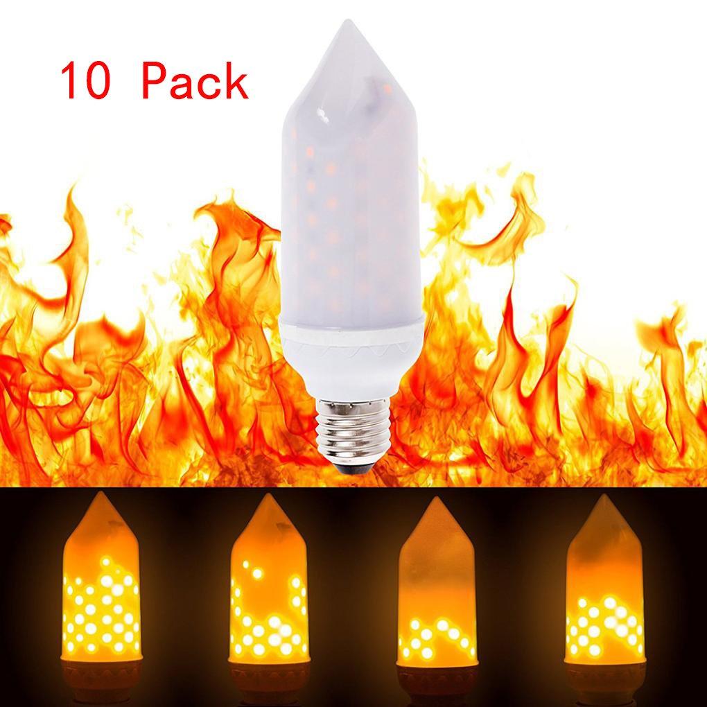 Alonea LED Flame Fire Light Effect Simulated Nature Corn Bulbs E27 Decoration Lamp 10 Pack