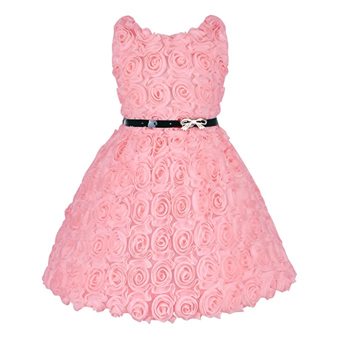 Bebé niñas elegante romántico vestido rosas Girls Full para dama rosa rosa 90 cm (2