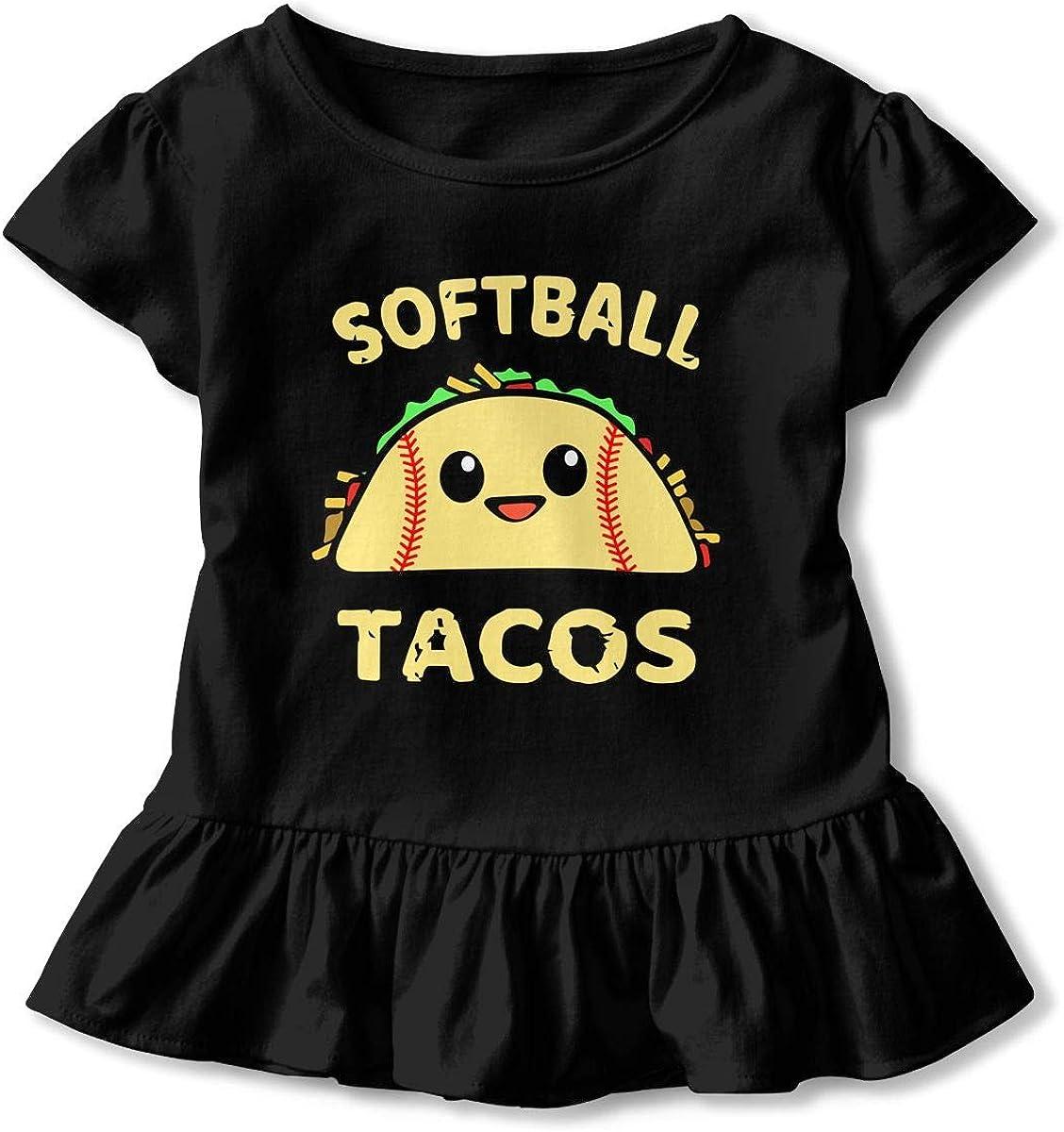 Cheng Jian Bo Softball and Tacos Funny Toddler Girls T Shirt Kids Cotton Short Sleeve Ruffle Tee