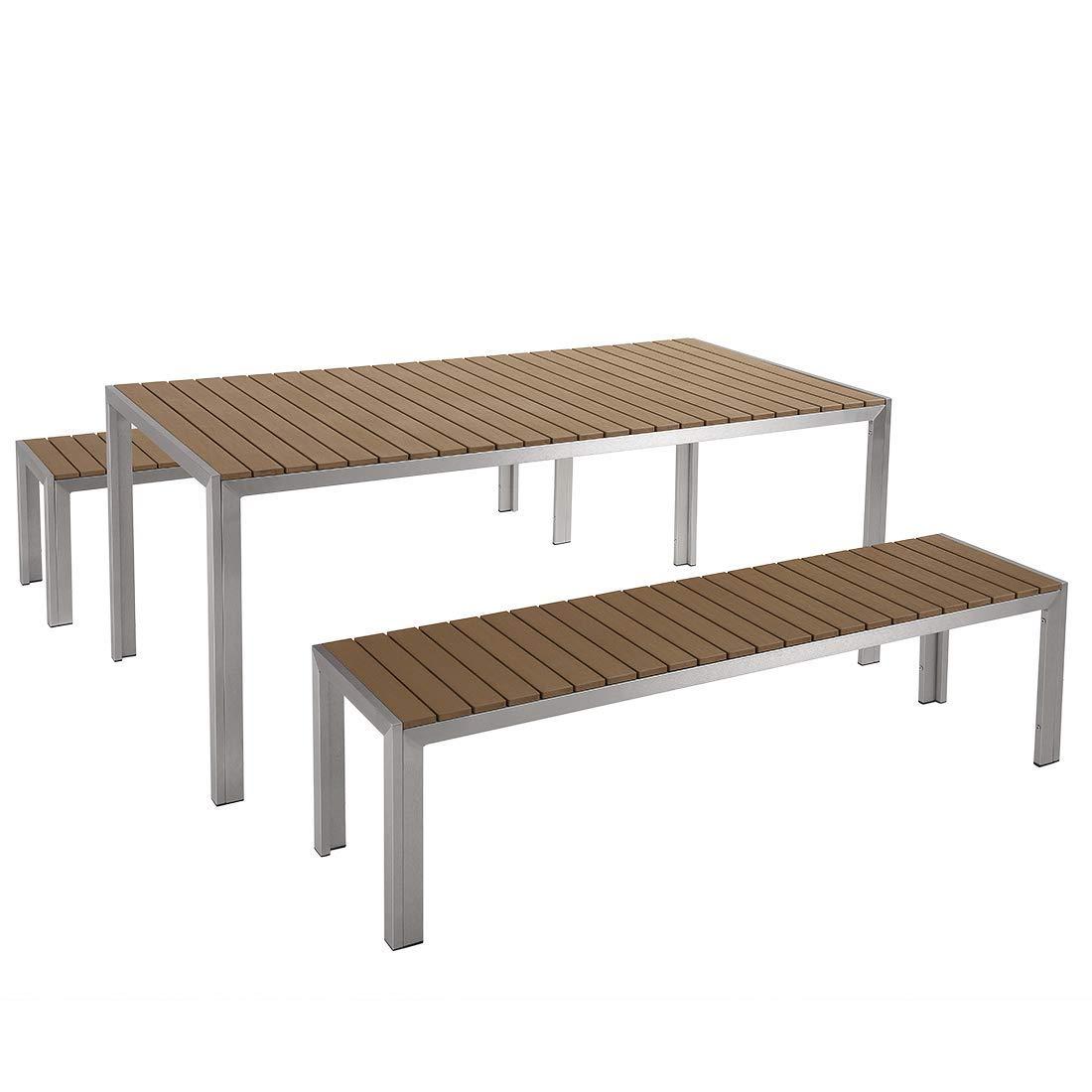 Beliani Gartenmöbel Set Aluminium Kunstholz braun 8-Sitzer Nardo