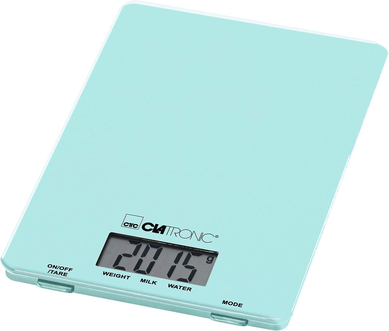 Clatronic KW 3626 3626-Báscula de Cocina (hasta 5 kg, Superficie de Cristal, función de Tara, Pantalla LCD, Color Verde Menta, plástico