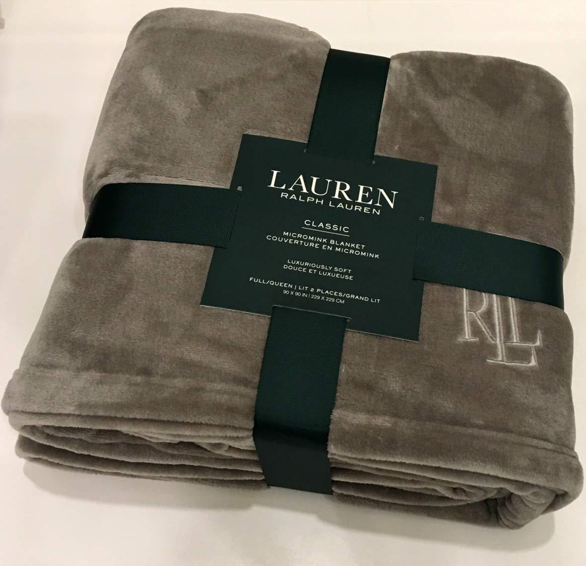 Ralph Lauren Classic Charcoal Gray Micromink Plush All Season Blanket   Full/Queen 90'' x 90''   Machine Wash, Tumble Dry