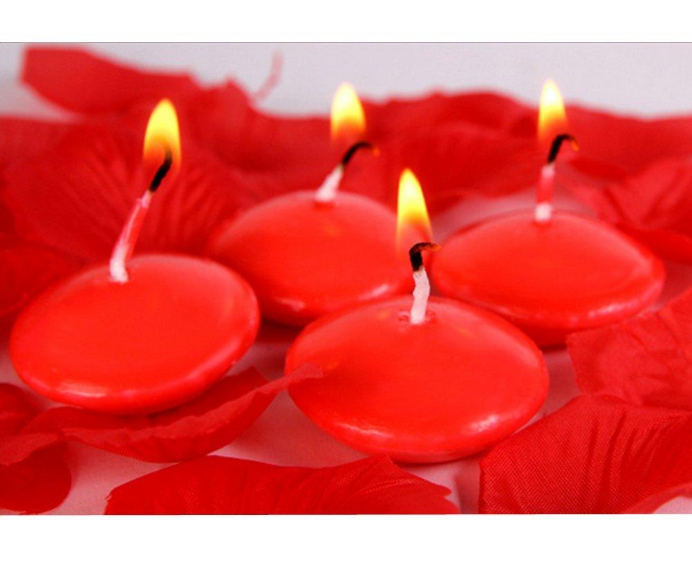 Distinct® 4pcs eau flottant décoration bougies mariage anniversaire fête Dedals paraffine bougies de cire (rose)