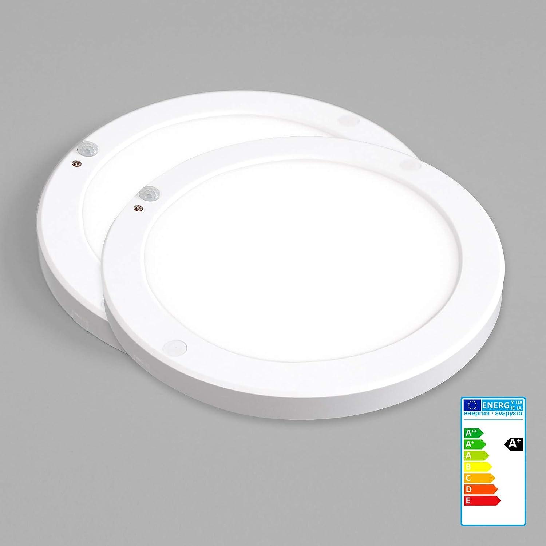 2 x Xtend PLD Mini Aufputz panel LED 18 W Ultraslim plafón redondo Ø220 mm con integrado Fuente. Blanco Neutro 4000 K, extra plano 18 mm, incluye material ...