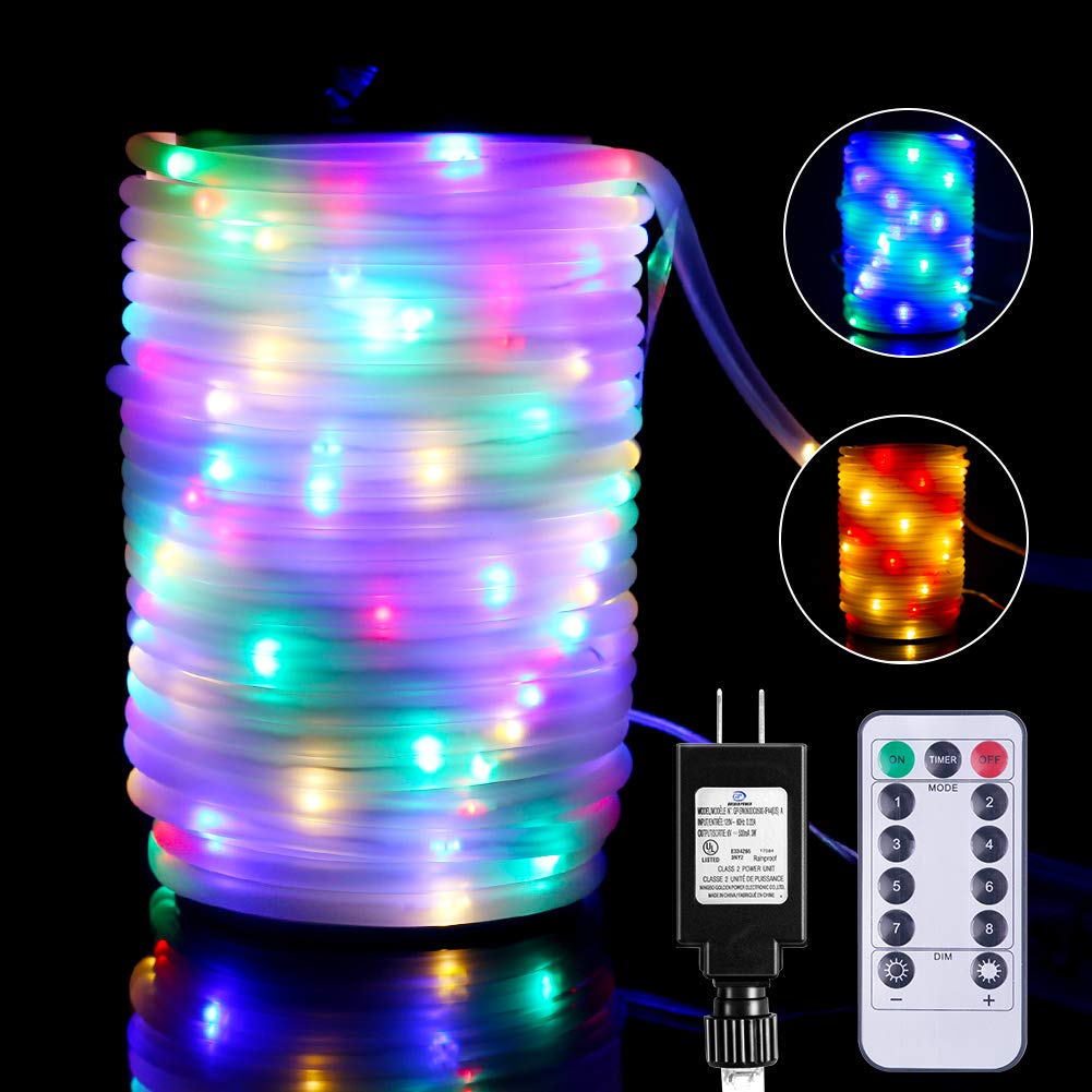 E-thinker 66Ft Rope Lights Outdoor Indoor, 200 LEDs Plug-in Color Changing String Lights with Remote RGB Light Rope Decorate Garden, Party,Backyard,Landscape (Halloween,Christmas,Thanksgive)