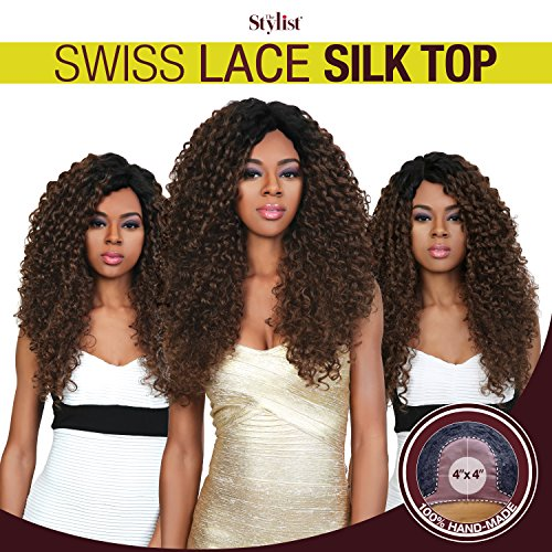The Stylist Synthetic Lace Front Wig Swiss Lace Silk Top Curly Curls (2) (Silk Top Lace Wig With Hidden Knots)