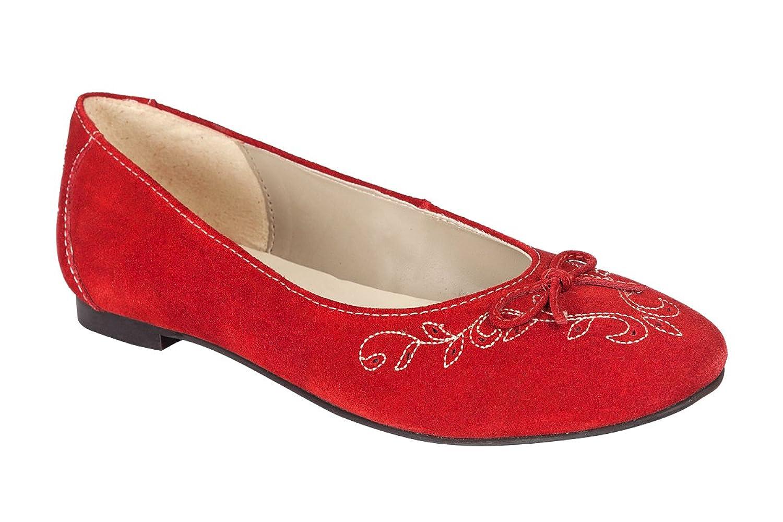 Trachten Ballerina - CHANTAL - schwarz, ruß, rot