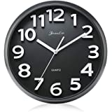 Gkwet 12 inches Silent Non Ticking Large Wall Clocks Decorative Indoor Kitchen Clock 3D Numbers Display Round Easy to Read,Battery Operated Wall Clocks (Black)