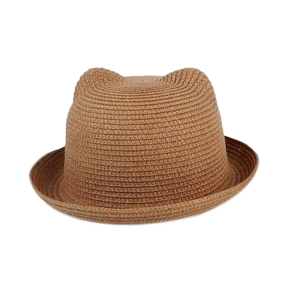 Doitsa sombrero eenfants orejas de gato Mignon oso sombrero de paja visera sombrero de cuenca gorra de playa Loisirs verano sombrero de sol para chicos chicas Size 50–52cm (marrón)