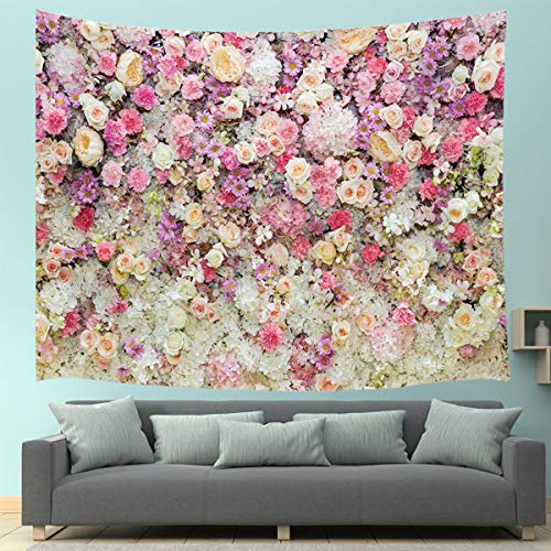 JAWO Spring Floral Tapestry Wall Hanging, Romantic Colorful Flowers Wall Yellow White Pink Rose Tapestry Home Decor Art Tapestries 71X60 Inches