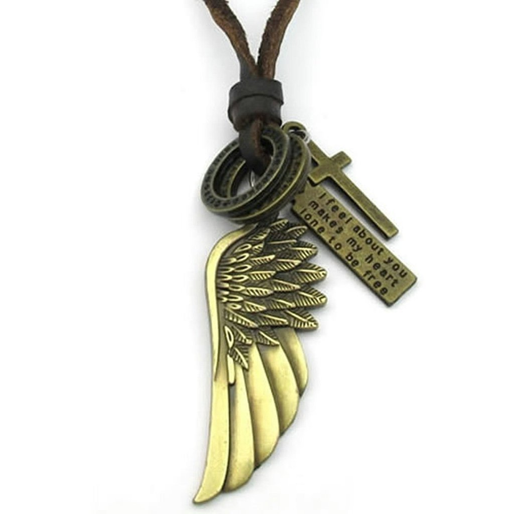 TTLElife Stainless Steel Fashion Men Women Necklace Pendant Brown Gold Leather Cord Angel Wing Cross