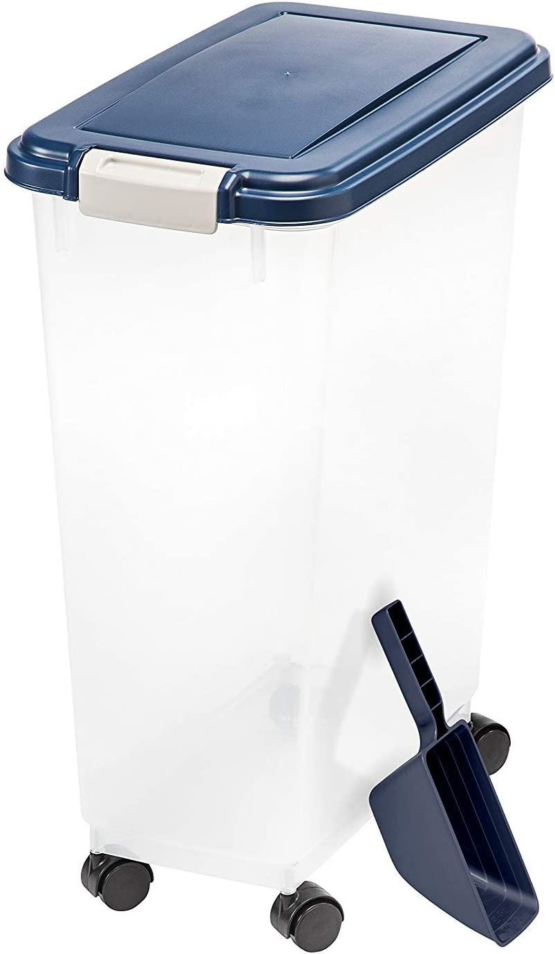IRIS USA Airtight Pet Food Container and Food Scoop Combo, Navy MP-10/SCP-2 COMBO