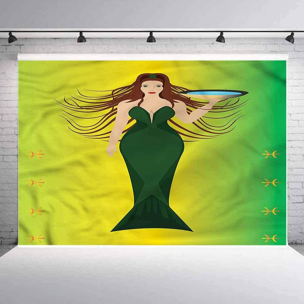 8x8FT Vinyl Backdrop Photographer,Zodiac Pisces,Mermaid Water Bowl Background for Baby Birthday Party Wedding Graduation Home Decoration