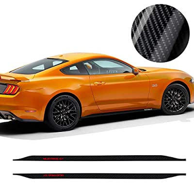 Charminghorse 2 Pieces Car 5D Carbon Fiber Vinyl Mustang GT Logo Side Stripes Lower Rocker Panel Decals Stickers for Ford Mustang 2015 2016 2020 2020 2020 Accessories: Automotive [5Bkhe0400308]