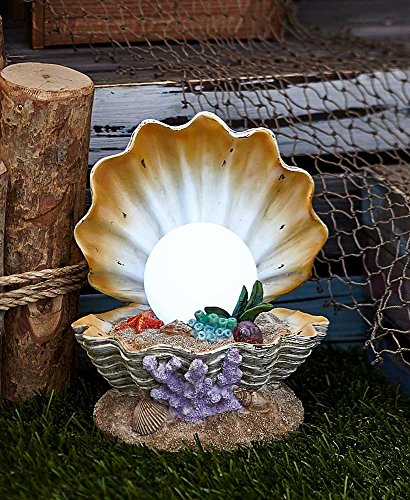 Solar Lighted Sea Life Sculpture Clam Shell by Generic