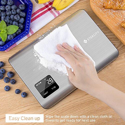 Etekcity EK7017 Digital Kitchen Multifunction Touch Scale, 11 lb 5 kg, Food Grade 304 Stainless Steel (Batteries Included), Large, Silver by Etekcity (Image #6)