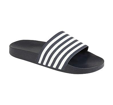 436c3a2f598b23 Men s Stripe Contrast Flat Slip On Beach Sliders Flip Flop Sandals Mules  Shoes  Navy