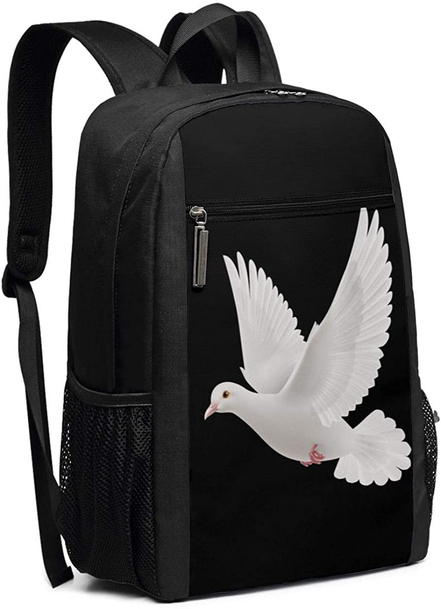 XTYND556 White Dove College Commuter Backpack Large Capacity Laptop Bag 17 Inch Travel Bag