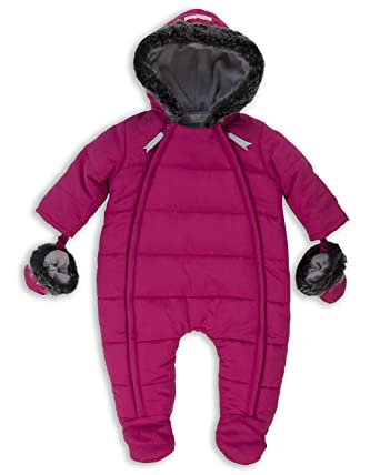378969378 The Essential One - Baby Girls Fur Trimmed Snowsuit Pramsuit ...