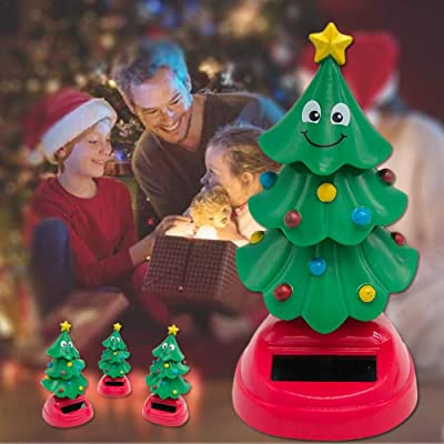 Solar Swinging Christmas Tree Car Interior Decoration Solar Power Shaking Figure Christmas Bobble Head Toys Desktop Dancing Toys 10.5x5x5cm: Home Improvement