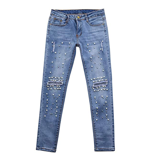a6126a1b4 Fitfulvan Women Jeans Denim High-Waist Ripped Stretchy Hole Pencil Pants  Trousers(Blue,