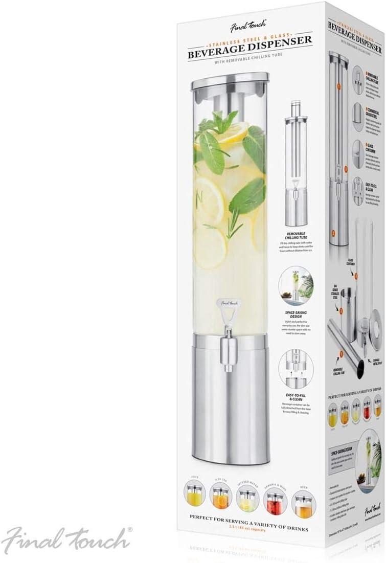 Dispenser per bevande in acciaio INOX e vetro con tubo refrigerante 1.5L Final Touch