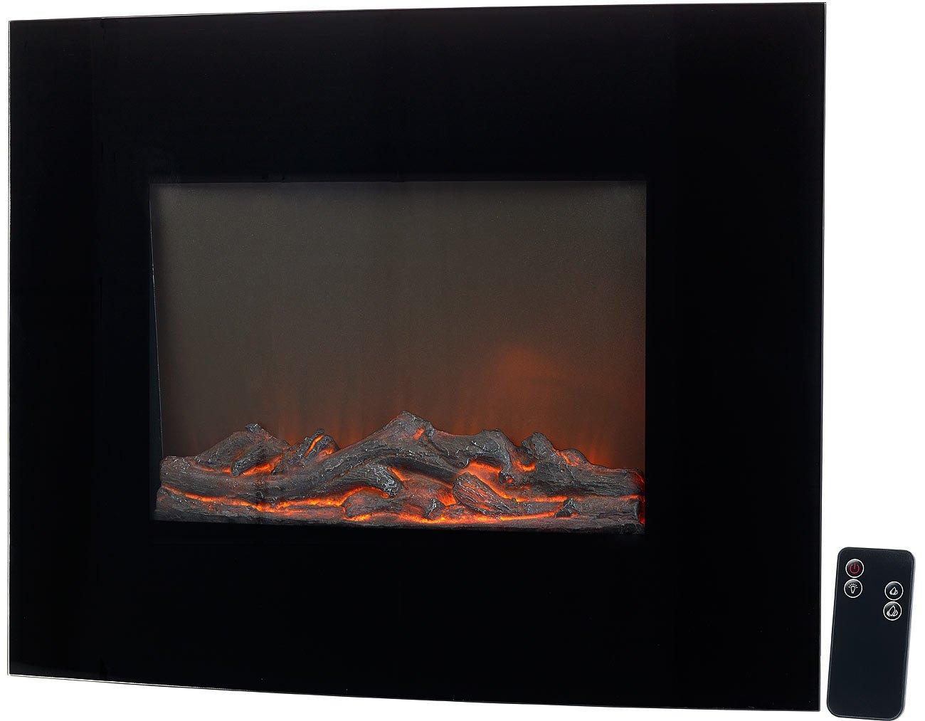 Carlo Milano Zimmerkamin: Elektrischer Kamin Ignis mit Heizlüfter & Feuer-Effekt zur Wandmontage (Elektrokamin hängend)