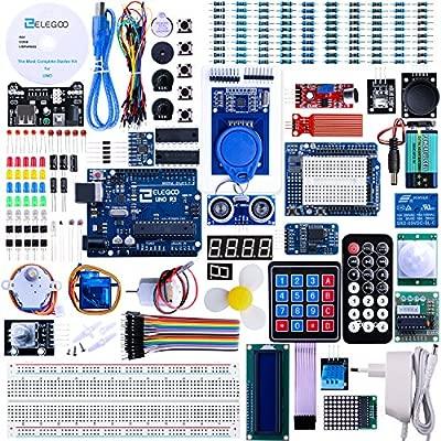 ELEGOO Conjunto Avanzado de Iniciación Compatible con Arduino IDE con Tutorial en Español y UNO R3 Placa, Relé, Modulo de Fuente de Alimentación, ...