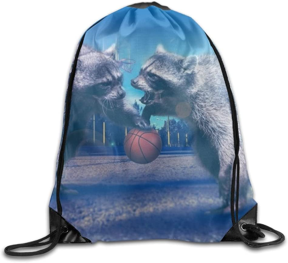 VIMUCIS Funny Raccoon Drawstring Backpack Rucksack Shoulder Bags Training Gym Sack For Man And Women