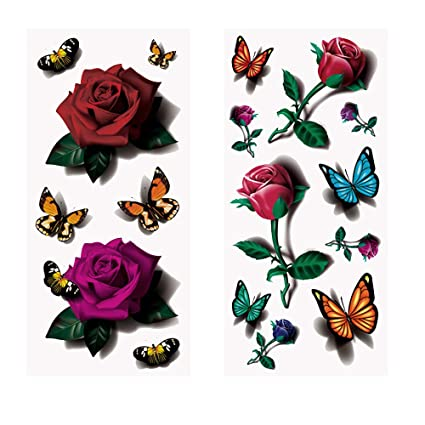 Pegatina de tatuaje temporal, impermeable, 3D, diseño de flores y ...