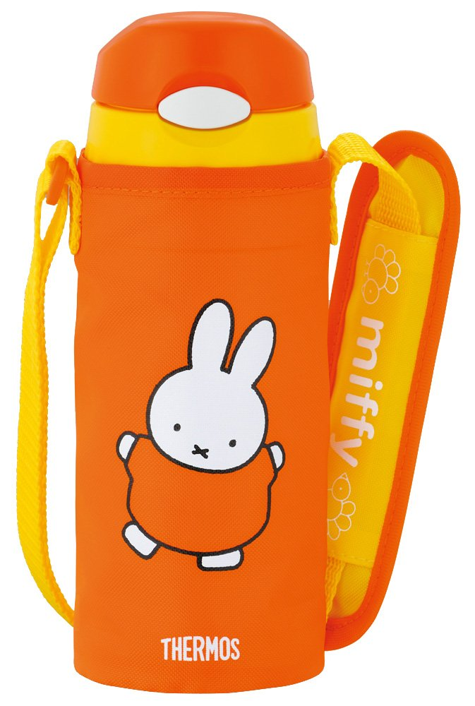 Thermos Vacuum Insulation Straw Bottle Miffy [One-touch Open Type] 0.36L Red (FFI-400FB R)