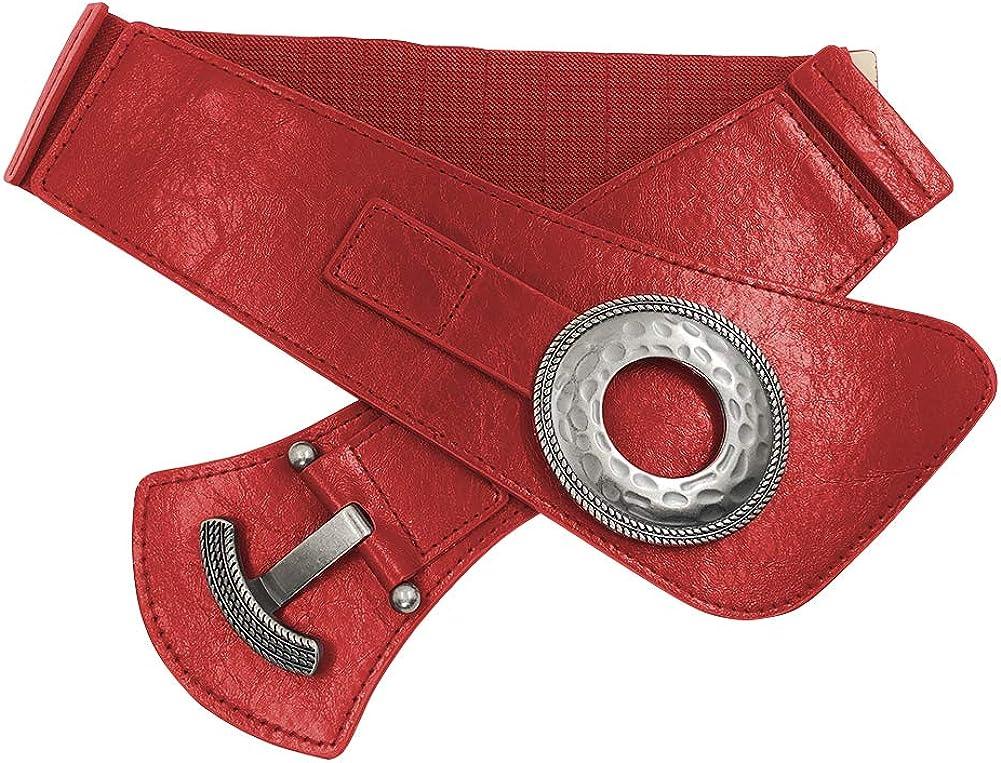 ZAPZEAL Damen Retro Elastische Breiten Gürtel Dehnbar Bund Damen Kleid Dekoration Gürtel A-rot