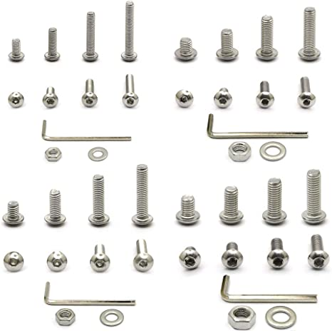 FULL NUT /& WASHER SET A2 STAINLESS STEEL SOCKET BUTTON HEAD BOLT M4 M5 M6 M8