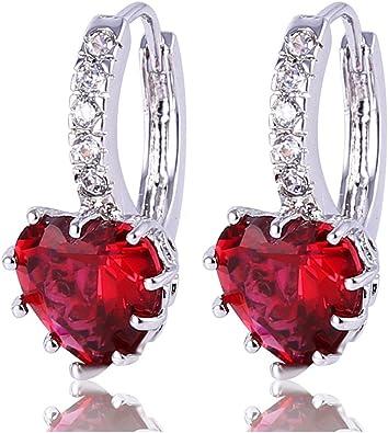 PLATINUM STERLING SILVER DIAMOND SET RED SAPPHIRE HEART HUGGIE KID EARRING GIFT