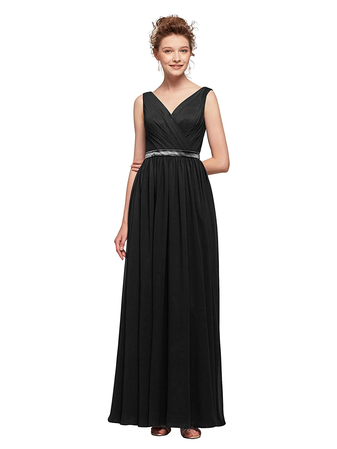3ab073f7a41 AW V-Neck Bridesmaid Dresses Chiffon Formal Prom Dresses Long Plus Size  Evening Gowns at Amazon Women s Clothing store