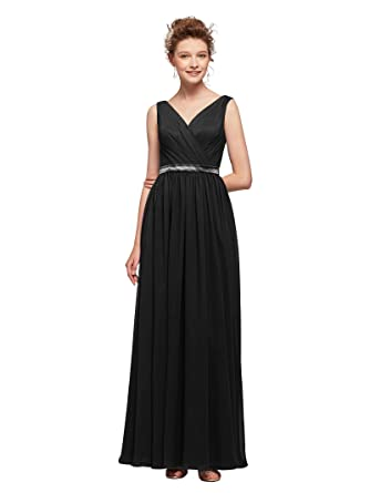 6389d85e17 AW V-Neck Bridesmaid Dresses for Women Chiffon Formal Prom Dresses Long  Evening Gowns
